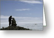Inuksuk Greeting Cards - An Inuit Hunter Surveys A Sacred Greeting Card by Gordon Wiltsie