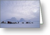 Ethnic And Tribal Peoples Greeting Cards - An Inuit-led Expedition Parks Greeting Card by Gordon Wiltsie