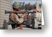 Iraqi Military Greeting Cards - An Iraqi Army Soldier Aims His Rocket Greeting Card by Stocktrek Images