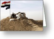 Iraqi Military Greeting Cards - An Iraqi Army Soldier Stands Guard Greeting Card by Stocktrek Images