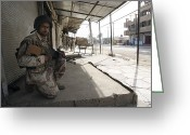 Iraqi Military Greeting Cards - An Iraqi Solider Holds Security Greeting Card by Stocktrek Images