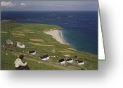 Young Man Greeting Cards - An Irishman Overlooks Cottages That Greeting Card by Howell Walker