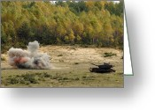 M60 Tank Greeting Cards - An M60 Patton Tank Explodes Greeting Card by Stocktrek Images