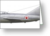 Vector Image Digital Art Greeting Cards - An Mig-15bis Of The North Korean Air Greeting Card by Chris Sandham-Bailey