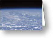 Oblique Greeting Cards - An Oblique Horizon View Of The Earths Greeting Card by Stocktrek Images