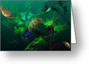 Sea Digital Art Greeting Cards - An Octopuss Garden Greeting Card by David Lane
