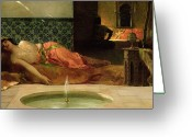 Orientalists Greeting Cards - An Odalisque in a Harem Greeting Card by Benjamin Constant