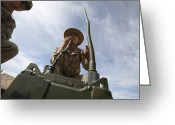 Transceiver Greeting Cards - An Officer Conducts A Radio Check Greeting Card by Stocktrek Images