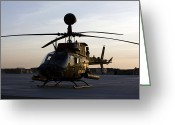 Agm-114 Greeting Cards - An Oh-58d Kiowa During Sunset Greeting Card by Terry Moore