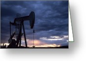 Image Type Photo Greeting Cards - An Oil Rig Silhouetted At Sunset Greeting Card by Joel Sartore
