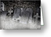 Thriller Greeting Cards - An Old Cemetery With Grave Stones And Fog Greeting Card by Joana Kruse