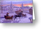 Sleigh Greeting Cards - An Old Fashioned Christmas Greeting Card by Richard De Wolfe
