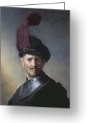 Signature Painting Greeting Cards - An Old Man in Military Costume Greeting Card by Rembrandt