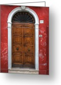 Red Door Greeting Cards - an old wooden door in Italy Greeting Card by Joana Kruse