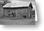 Shed Greeting Cards - An Orderly World monochrome Greeting Card by Steve Harrington