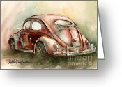Oval Greeting Cards - An Oval Window Bug in Deep Red Greeting Card by Michael David Sorensen
