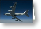 Rivet Greeting Cards - An Rc-135w Rivet Joint Aircraft Flies Greeting Card by HIGH-G Productions