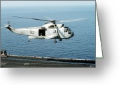 Operation Desert Storm Greeting Cards - An Sh-3h Sea King Helicopter Prepares Greeting Card by Stocktrek Images