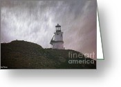 Offshore Greeting Cards - Anacapa Island Lighthouse Greeting Card by Cheryl Young