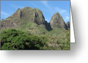 Barks Greeting Cards - Anahola Peaks Greeting Card by Deborah Smolinske
