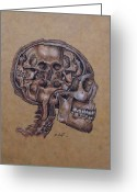 Anatomical Mixed Media Greeting Cards - Anatomy of a Schizophrenic Greeting Card by Joe Dragt