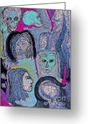 Surrealism Drawings Greeting Cards - Ancestral Cave Greeting Card by First Star Art