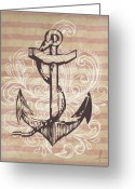 Featured Mixed Media Greeting Cards - Anchor Greeting Card by Adrienne Stiles