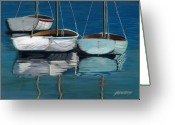 Sailboats Greeting Cards - Anchored Reflections I Greeting Card by Sharon Kearns