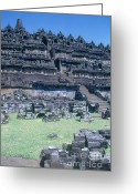 Borobudur Greeting Cards - Ancient Borobudar Temple Greeting Card by Photo Researchers, Inc.