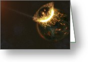 Cataclysm Greeting Cards - Ancient Earth Impact Greeting Card by Fahad Sulehria