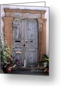 Entrance Door Greeting Cards - Ancient Garden Doors in Greece Greeting Card by Sabrina L Ryan