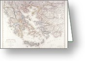 Antique Map Digital Art Greeting Cards - Ancient Greece Greeting Card by Fototeca Storica Nazionale