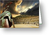Fighting Greeting Cards - Ancient Greece Greeting Card by Meirion Matthias