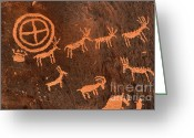 Bighorn Greeting Cards - Ancient Indian Petroglyphs Greeting Card by Gary Whitton