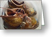 Colette Greeting Cards - Ancient old Ski SHOES  Greeting Card by Colette Hera  Guggenheim