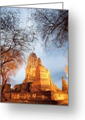 Sacred Photo Greeting Cards - Ancient Pagoda Greeting Card by Setsiri Silapasuwanchai
