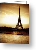 Sepia Toned Greeting Cards - Ancient Paris Tour Eiffel Greeting Card by Noovae