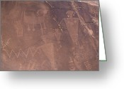 Humans Greeting Cards - Ancient Petroglyphs Decorate A Wall Greeting Card by Taylor S. Kennedy