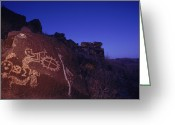 Pre Columbian Antiquities And Artifacts Greeting Cards - Ancient Rock Art Showing Kokopelli Greeting Card by Ira Block