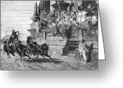 Horserace Greeting Cards - Ancient Rome: Chariot Race Greeting Card by Granger