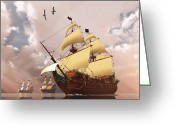 Sailboat Picture Greeting Cards - Ancient Ships Greeting Card by Corey Ford