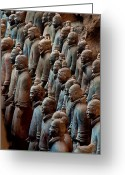 Antiquities And Artifacts Greeting Cards - Ancient Soldier Statues Stand At Front Greeting Card by O. Louis Mazzatenta