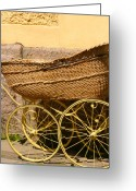 Pram Greeting Cards - Ancient Swedish Baby Carriage Greeting Card by Dagmar Ceki