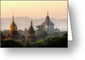 Ancient People Greeting Cards - Ancient Temples At Sunset Greeting Card by Tom Horton, Further To Fly Photography