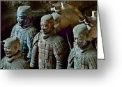 Excavation Greeting Cards - Ancient Terracotta Soldiers Lead Horses Greeting Card by O. Louis Mazzatenta