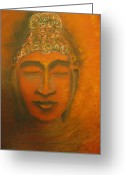 Buddha Pastels Greeting Cards - Ancient Times Greeting Card by Cecilia Navarro