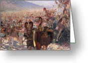 Sprinting Greeting Cards - Ancient Warriors Greeting Card by Georges Marie Rochegrosse