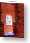 Anasazi Greeting Cards - Ancient Windows Greeting Card by Merja Waters