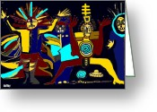 Ancient Aliens Greeting Cards - Ancients- Night Visit Greeting Card by Doug  Duffey