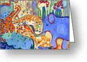 Kid Painting Greeting Cards - And Elephant Enters the Room Greeting Card by Jennifer Lommers